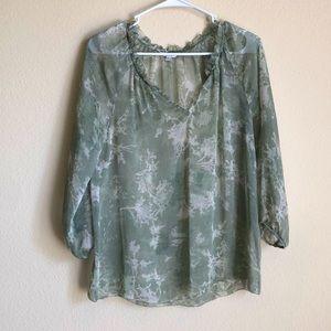 Green Sonoma sheer blouse